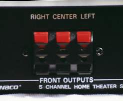 Shown here, are the front speaker outputs on the Dynaco QD-1.  Note that connections are provided for left, center, and right channels.  Use of the center channel output is optional.