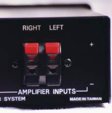 Pictured here are the QD-1's left and right amplifier inputs.